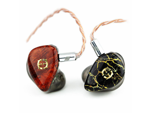 Empire Ears Vantage custom IEMs with Red Burl Wood and Marble Stone faceplates