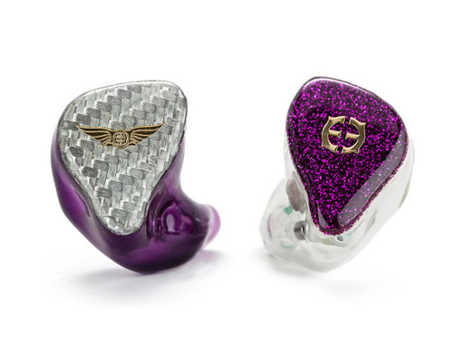 Empire Ears Legend X custom IEMs in Silver Carbon Fiber and Purple Glitter faceplates