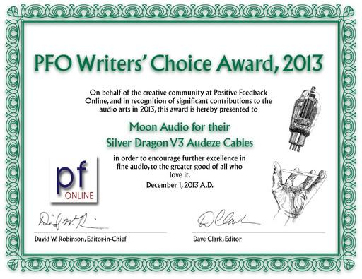 2013 PFO Writers' Choice Award - Silver Dragon V3 Premium Audeze