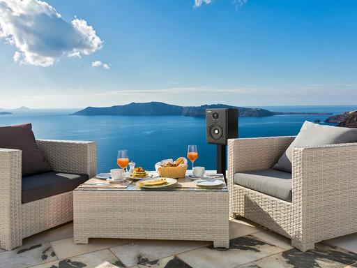Aurender S5W wireless speaker on a patio
