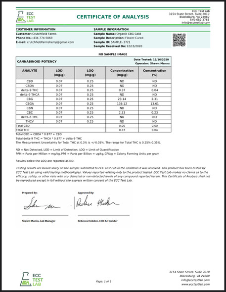 Chesterfield Hemp Co CBG Gold 7 Grams 15.92%