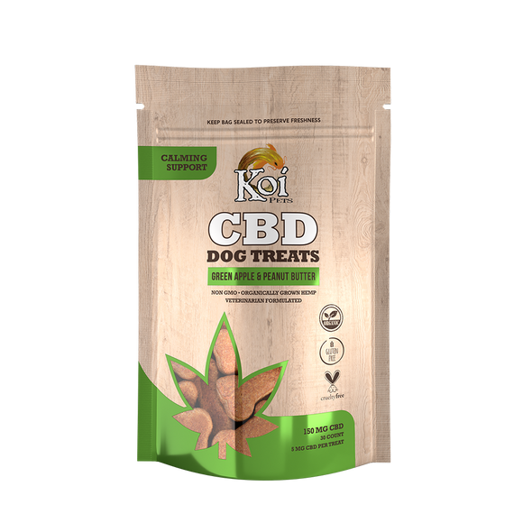 Koi CBD Dog Treats, Calming, Green Apple & Peanut Butter, 30 pcs,150mg