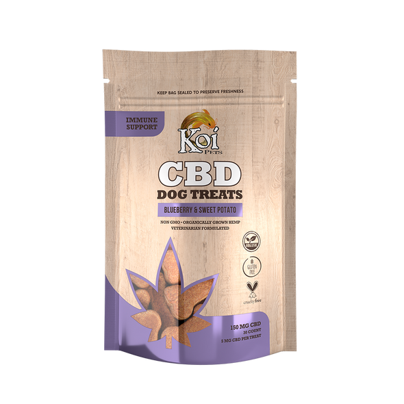 Koi CBD Dog Treats, Immune Support, Blueberry & Sweet Potato, 30 pcs,150mg