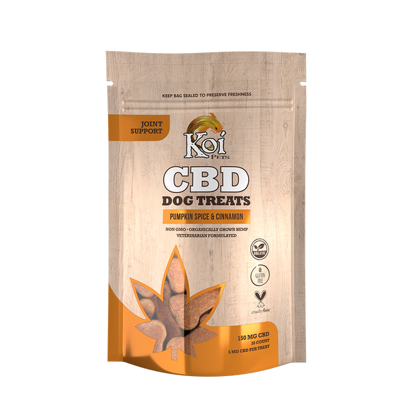 Koi CBD Dog Treats, Joint Support, Pumpkin Spice & Cinnamon, 30 pcs,150mg