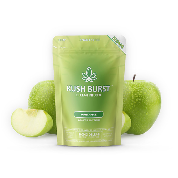 Kush Burst Delta 8 Gummies – Sour Apple 50mg 10 Count
