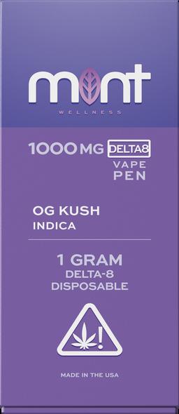 OG KUSH Delta 8 Disposable - Indica 1000mg - Mint Wellness