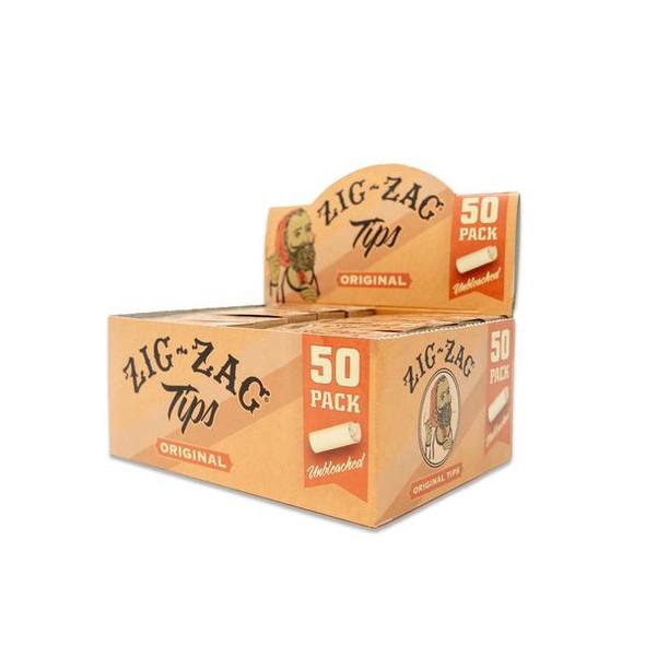 Zig Zag - Original Unbleached Rolling Tips  - 50 Pack Carton