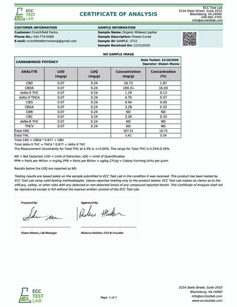 Chesterfield Hemp Co Midwest Jupiter 3.5 grams 16.72% CBD