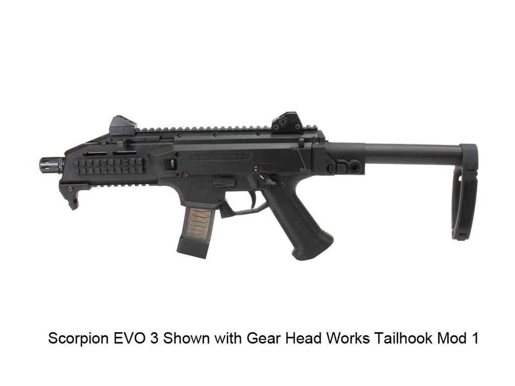 AGP Arms Lightweight Folding Brace Kit With Gear Head Works Tailhook Mod 1 Designed for CZ Scorpion Evo 3