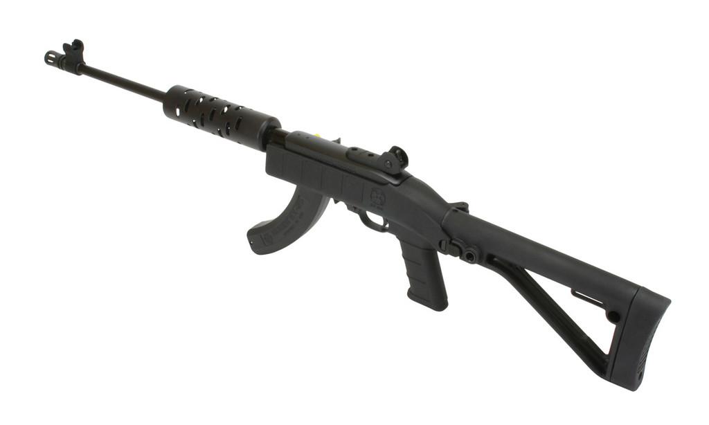 "Shown with optional iron sights, multi-slot aluminum handguard, black cerakote barrel, BX-25 magazine, 1.65 flash suppressor, and 1"" butt pad"