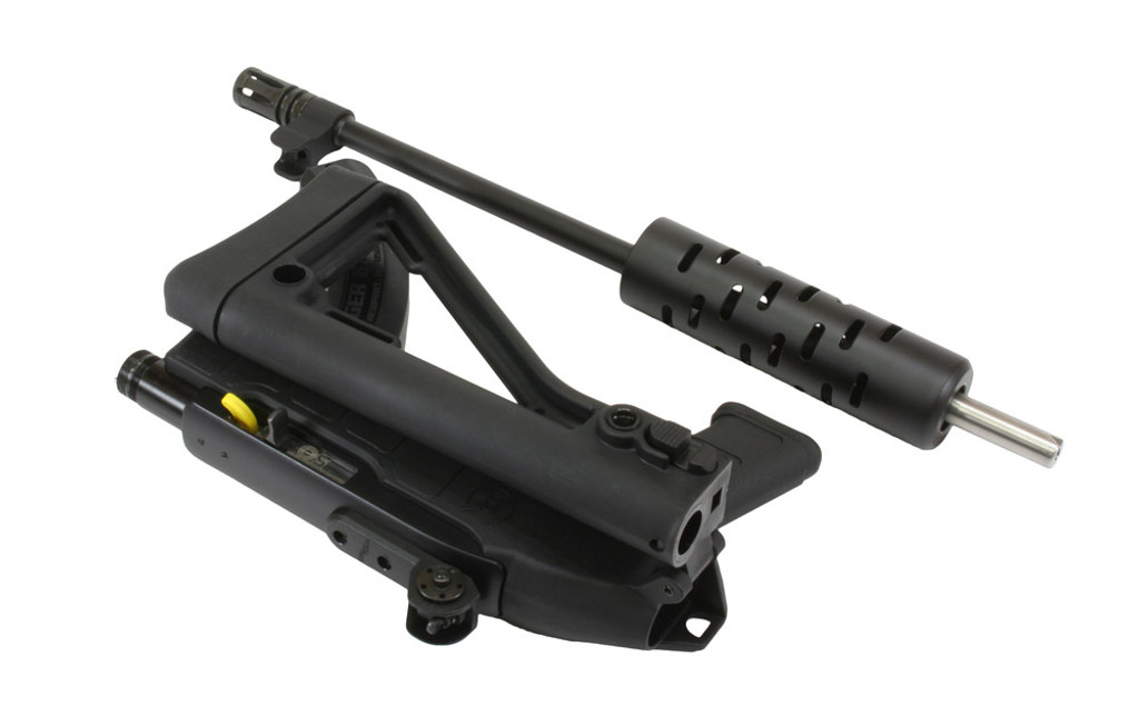 "Shown with optional iron sights, multi-slot aluminum handguard, black cerakote barrel,  and 1"" butt pad"