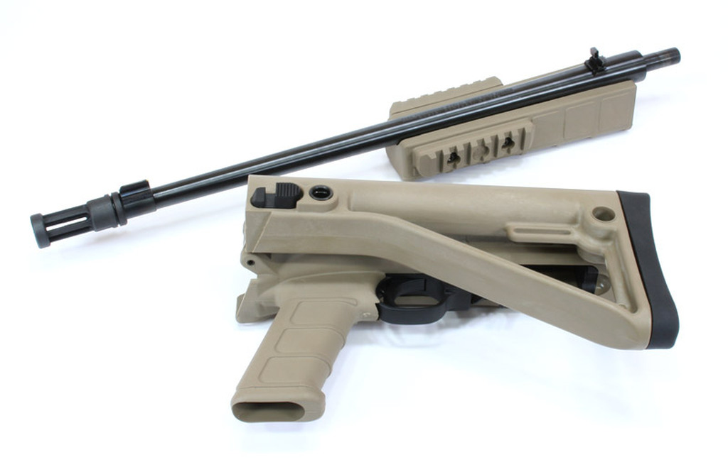 "Stock Kit shown in Tan (Dark Earth) with Optional Handguard and Picatinny Rails on a Ruger Takedown Model.  Optional 1"" Butt Pad Shown"