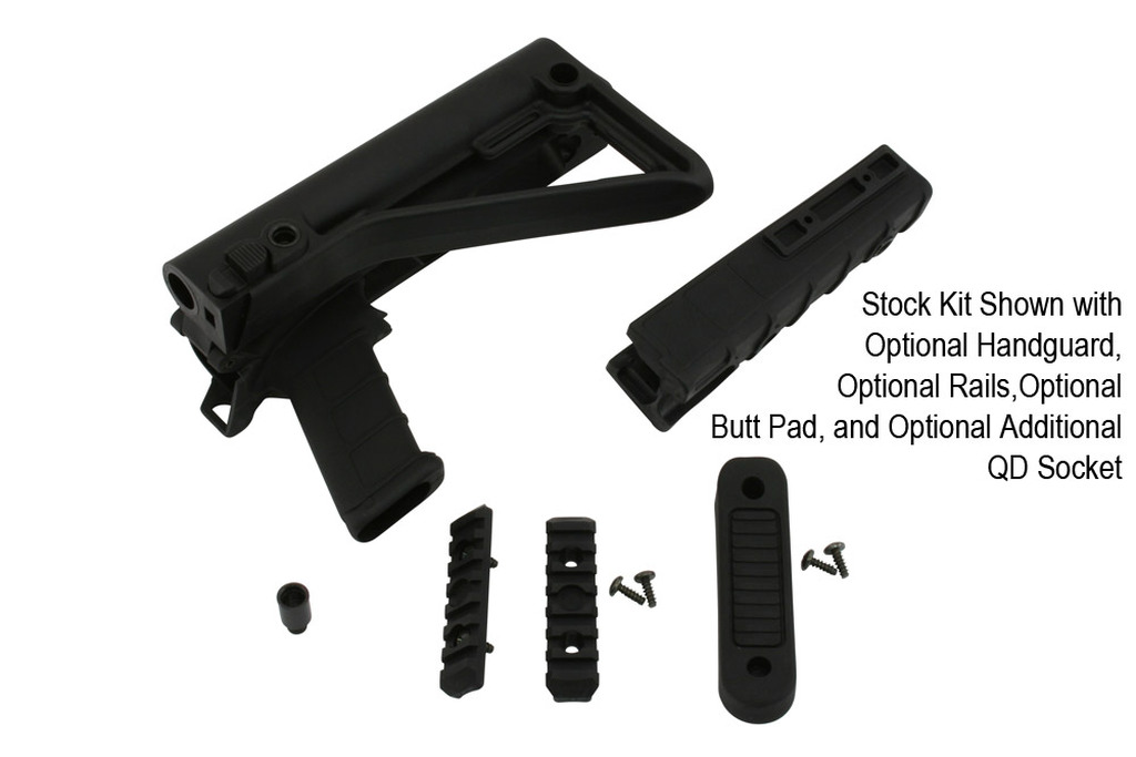 Stock Kit Shown with Optional Handguard, Optional Rails,Optional Butt Pad, and Optional Additional QD Socket