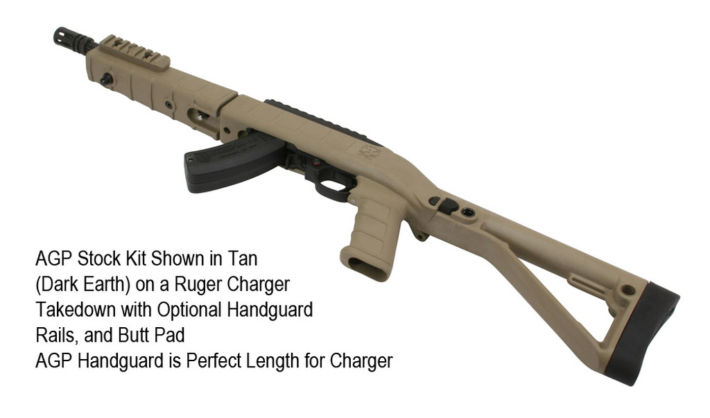 AGP Stock Kit Shown in Tan on a Ruger Charger Takedown with Optional Handguard, Rails, and Butt Pad.  AGP Handguard is Perfect Length for Charger