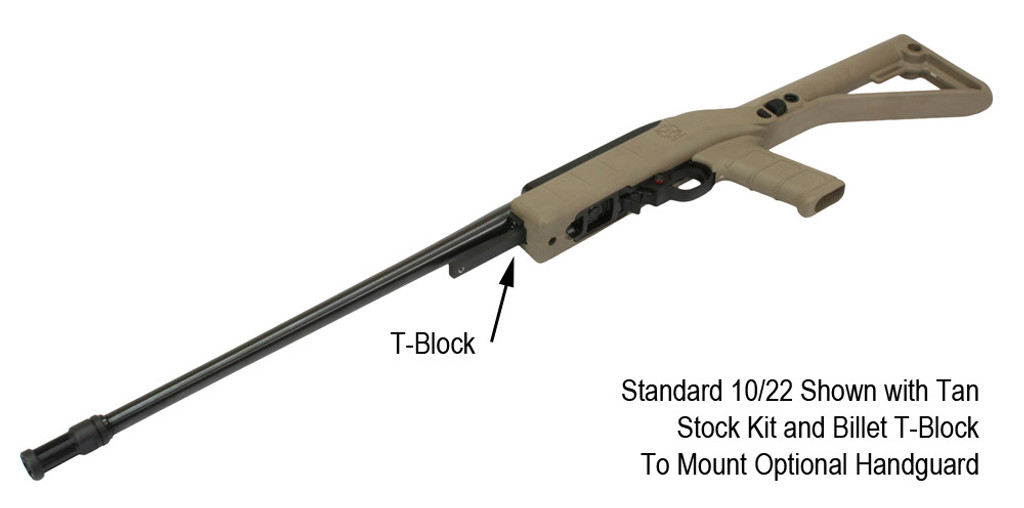 Standard 10/22 Shown with Tan Stock Kit and Billet T-Block to Mount Handguard