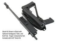 Stock Kit Shown in Black with Optional Handguard, Rails, and Butt Pad.  Ruger Components Not Included with AGP Stock Kit