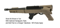 Stock Kit Shown in Tan with Optional Handguard, Rails, and Butt Pad on a Charger Takedown.  NFA Rules Apply