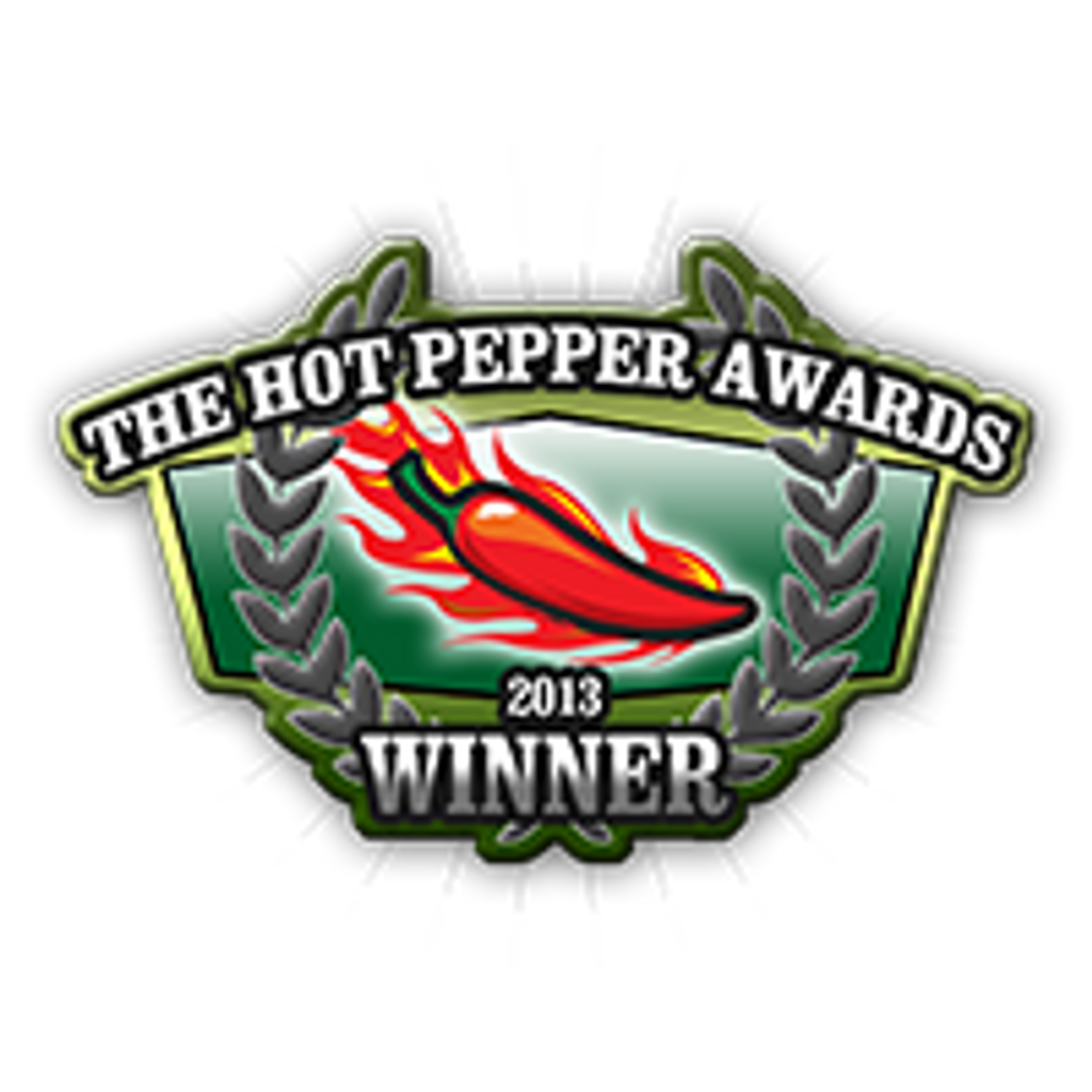 Two Time GRAND PRIZE winner at the Scovie Fiery Foods Show. and the Hot Pepper Awards.