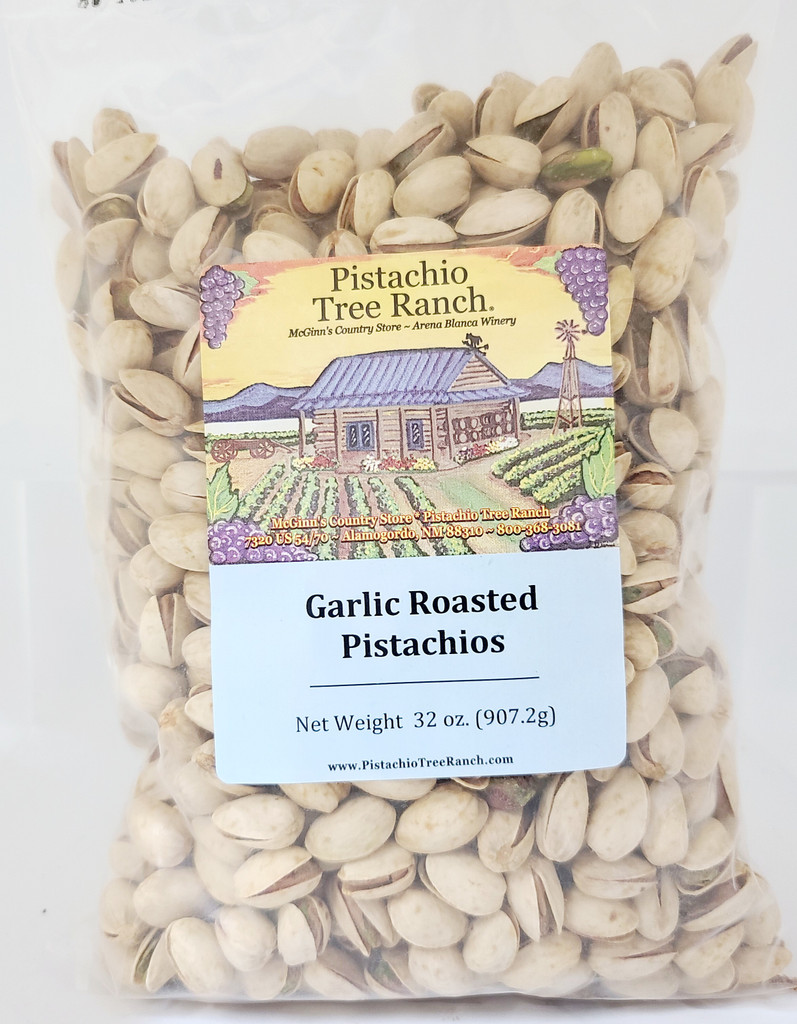 32 oz. (2 lb.) of Garlic Pistachios in a sealed plastic bag. Also available in burlap gift bags. Ingredients: salted pistachios(tree nuts), water, natural garlic flavor oil (soybean oil)(soy)), garlic powder. Allergens: Tree nuts, Soy.