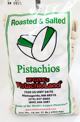A 16 oz poly bag of McGinn's naturally colored pistachios grown at Pistachio Tree Ranch in New Mexico.  Roasted and lightly salted, these pistachios have splits in the shell to make them easy to eat.