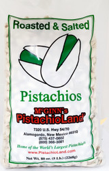 A 5 lb poly bag of McGinn's naturally colored pistachios grown at Pistachio Tree Ranch in New Mexico.  Roasted and lightly salted, these pistachios have splits in the shell to make them easy to eat. This bag is big enough to share.