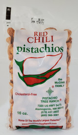 16oz. (1 lb.) of HOT, spicy red chili roasted pistachios.