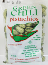 8 oz. (1/2lb) of our green chili roasted in shell pistachios. Spicy! Our green chili is made using jalapeno and habanero peppers.   Ingredients: Salted pistachios (tree nuts), jalapeno pepper powder, ground habanero powder, Green Food Coloring(water, propylene glycol, FD&C Yellow 5&6, Blue 1,citric acid, and sodium benzoate(preservative)), garlic powder. Allergens: Tree Nuts