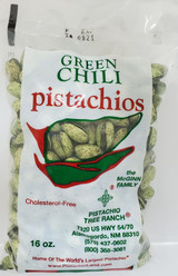 16oz. (1lb) of our green chili roasted pistachios. Spicy! Our green chili is made with jalapeno green chilis, and habaneros.  Also available in burlap gift bags.  Ingredients: Salted pistachios(tree nuts), jalapeno pepper powder, ground habanero powder, green food coloring(water,propylene glycol, FD&C Yellow 5&6, Blue 1, citric acid and sodium benzoate(preservative)), garlic powder. Allergens: Tree nuts