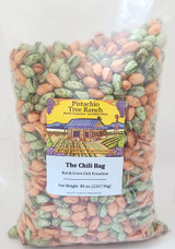 Christmas colors! Red and Green Chili pistachios in one bag. Spicy!! Our green chili includes jalapeno and habanero. Our red chili includes cayenne and habanero. Looking for NM Chile (with an e?) - check out our Hatch Red and Hatch Green Chile roasted pistachios.