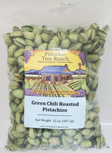 32oz. (2 lb.) of our green chili roasted pistachios. Spicy! Also available in burlap gift bags. Green chili used is Jalapeno.  Ingredients: Salted pistachios(tree nuts), jalapeno pepper powder, ground habanero powder, Green food coloring(water, propylene glycol, FD&C Yellow 5&6, Blue 1, citric acid & sodium benzoate(preservative), garlic powder. Allergens: Tree nuts