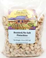 Roasted, unsalted pistachios. Pure and delicious! Ingredients: pistachios Allergens: tree nuts.
