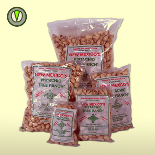 A 4 oz poly bag of McGinn's naturally colored pistachio grown at Pistachio Tree Ranch in New Mexico.  Roasted and lightly salted, these pistachios have splits in the shell to make them easy to eat.
