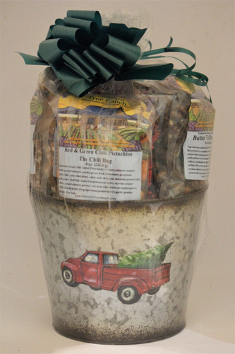 Classic Red Truck & Tree Painted Gift Tub