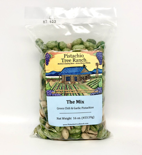 The Mix: Green Chili and Garlic In-Shell Pistachios 16 oz.