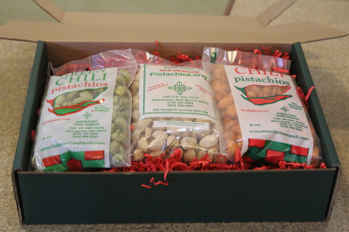 8 oz. in shell pistachios: Green Chili, Roasted & Salted, Red Chili Available in Red, Classic Red Truck, Blue Snowflake, Red and black plaid,red and white snowflake