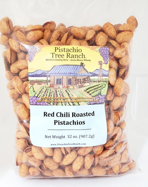 32 oz. (2lb.) of HOT, spicy red chili roasted pistachios. Caliente!!