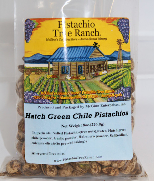 NM Hatch green chile roasted onto inshell pistachios in a poly plastic bag. 8 oz. (226.8 g) Warning: SPICY HOT