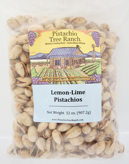 32 0z. (2lb.) Lemon Lime In shell Pistachios in a sealed plastic bag. Also available in burlap gift bags.