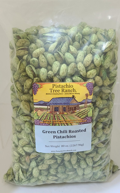 80 oz. (5 lb.) of our green chili roasted pistachios. Spicy! Green chili is jalapenos & habaero (both types of green chili). Also available in burlap gift bags.