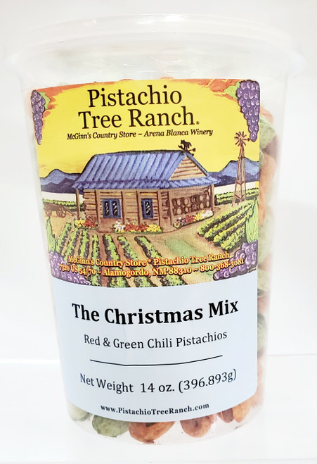 Plastic tub with a lid, perfect for munching on a car trip. Filled with our chili mix (red and green chili pistachios).