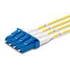 4 LC Simplex connectors, labelled, blue
