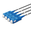 4 SC Simplex connectors, labelled, blue