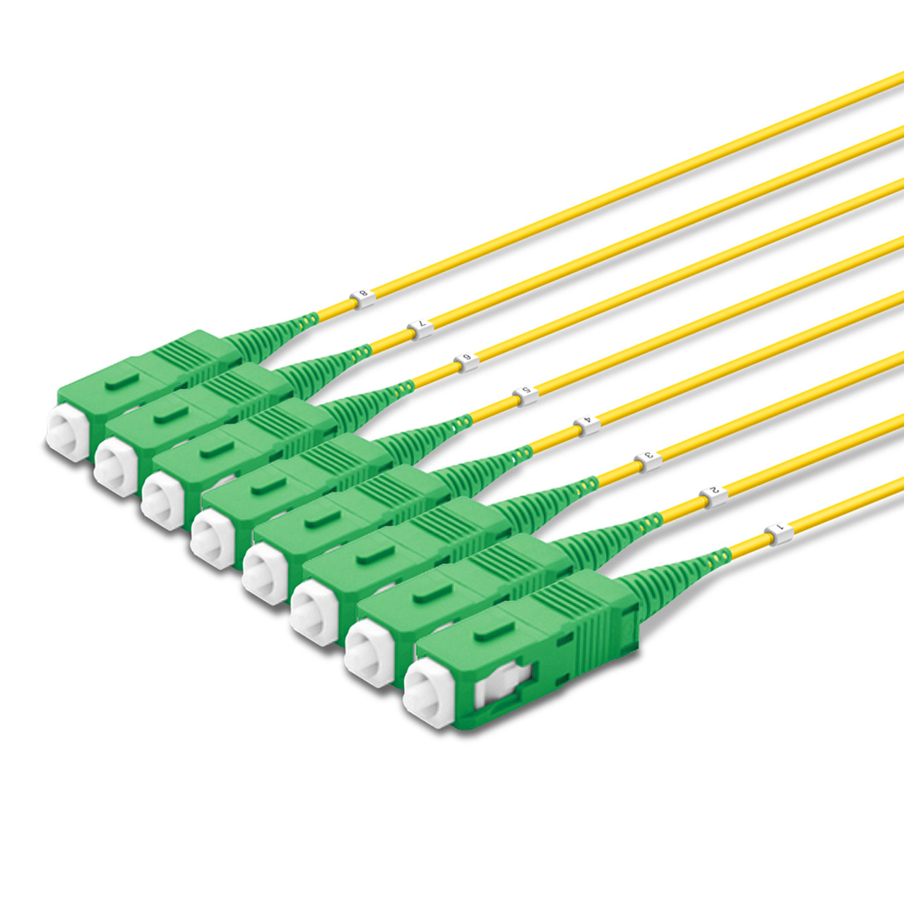 8 SC Simplex connectors, labelled, green