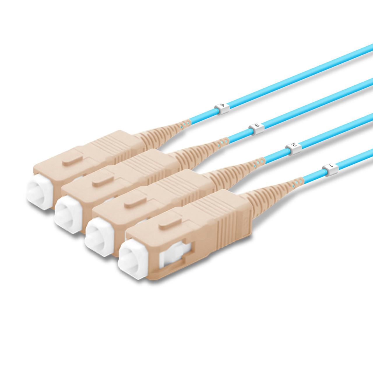 4 SC Simplex connectors, labelled, beige