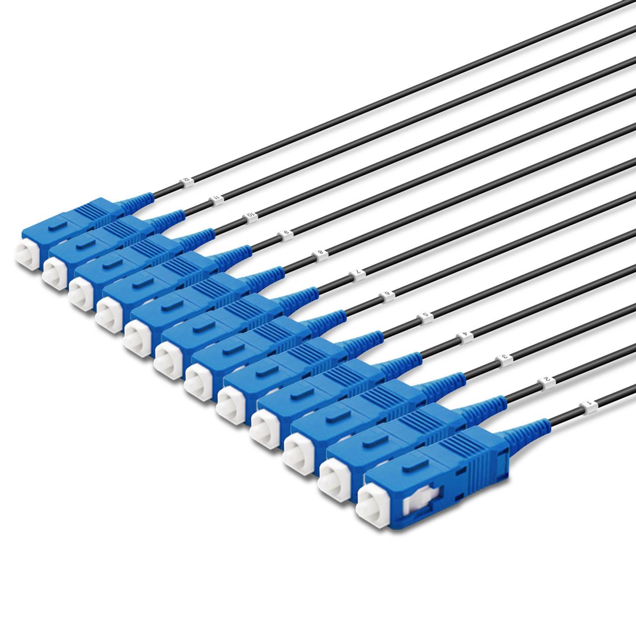 12 SC Simplex connectors, labelled, blue