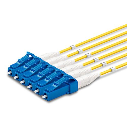6 LC Simplex connectors, labelled, blue