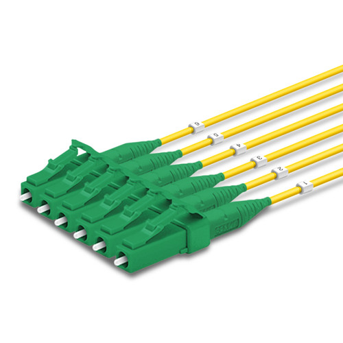 6 LC Simplex connectors, labelled, green