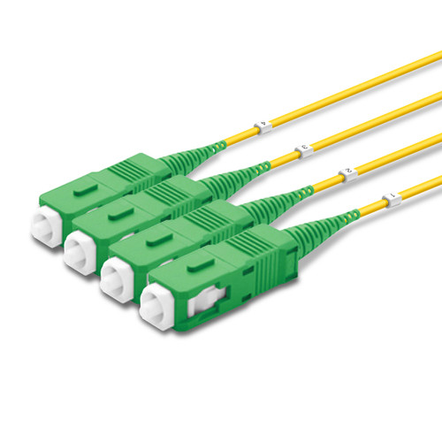 4 SC Simplex connectors, labelled, green