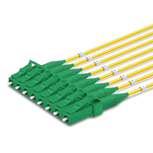 8 LC Simplex connectors, labelled, green