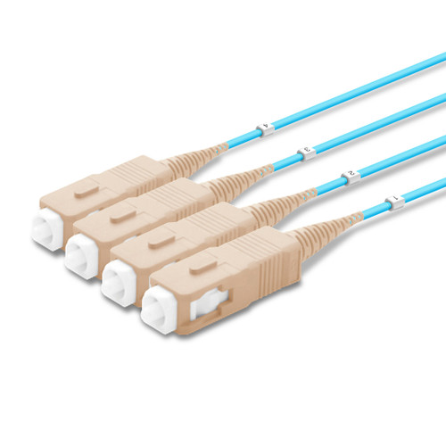 4 SC Simplex connectors, labelled, beige